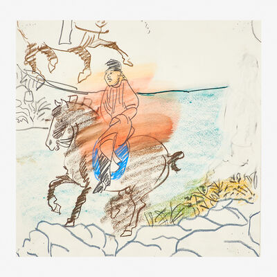 Larry Rivers, 'Untitled (Sketch for Chinese Information: Red Male Rider)', 1980