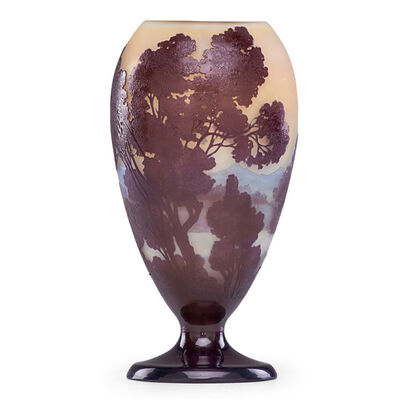 Galle, 'Vase with trees and mountainous landscape, France', early 20th C.