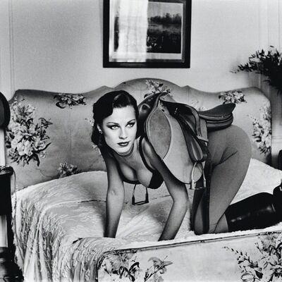 Helmut Newton, 'Saddle I, Paris (at the Hotel Lancaster, Signed)', 1976