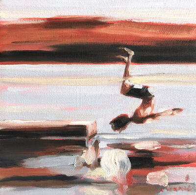 """Elizabeth Lennie, '""""Mythography #130"""" abstract oil painting of a boy jumping in the water with earth toned background', 2018"""