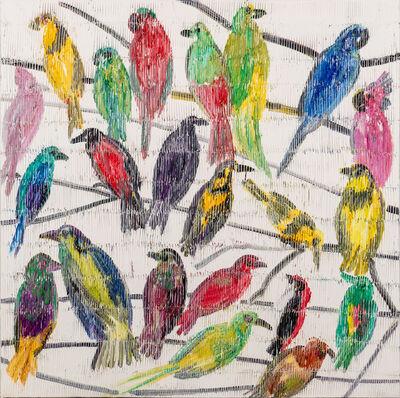 Hunt Slonem, 'Fruit Doves & Bee Eaters', 2020