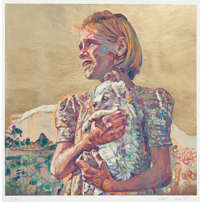 Hung Liu, 'Migrant Child: with Puppy - Gold ', 2019