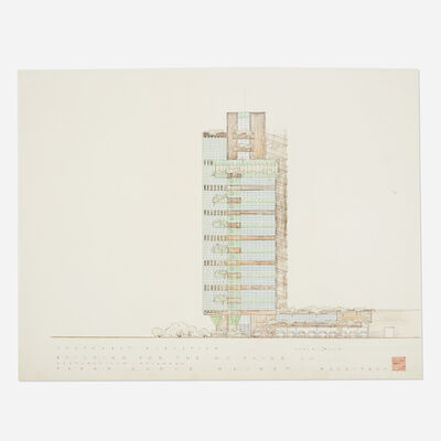 Frank Lloyd Wright, 'Southern Elevation drawing for Price Tower, Bartlesville, Oklahoma', 1952