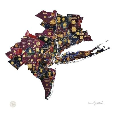 Yanko Tihov, 'New York Tri State Map', 2016