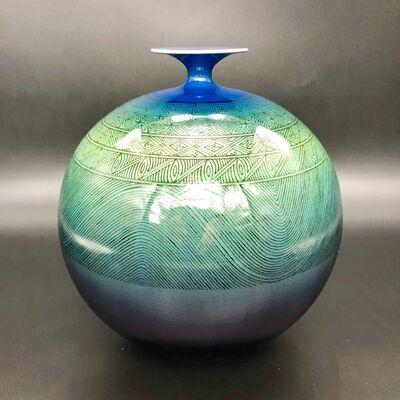 Tokuda Yasokichi III, 'Japanese Vase with concise patterns underlie', ca. 1993