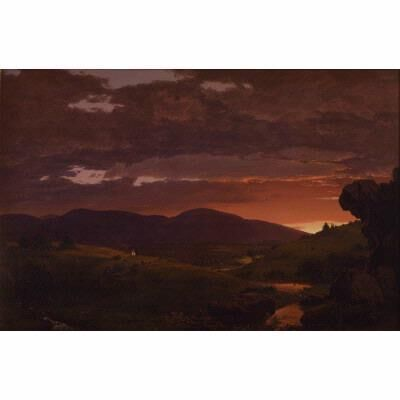 "Frederic Edwin Church, 'twilight, ""Short Arbiter 'Twixt Day and Night"" (Sunset)', 1850"