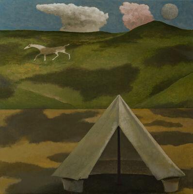 David Inshaw, 'Shadows and White Horse', 2019