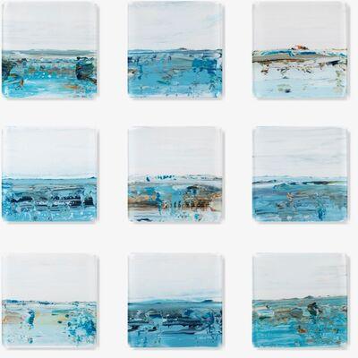 "John Schuyler, '""Vetro 0519-08"" Blue abstract reverse paintings on nine 16 x 16 acrylic panels', 2019"