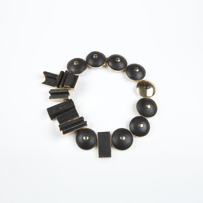 Louise Nevelson, 'Black painted wood and gold necklace', ca. 1965
