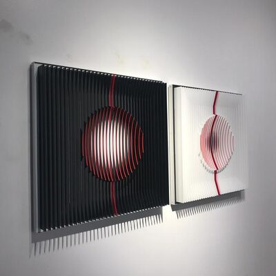 J. Margulis, 'Red filled Moons - kinetic wall sculpture by J. Margulis', 2017