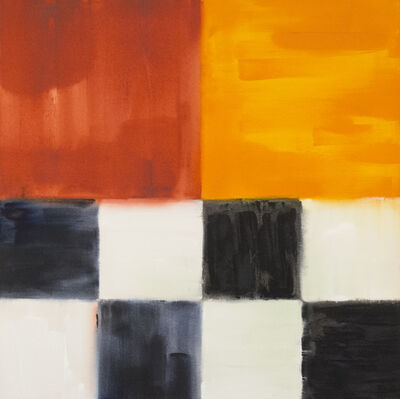 Milly Ristvedt, 'Act of Silence - grids of black, white, orange, red, abstract, acrylic on canvas', 1995