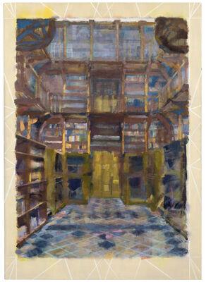 Jochen Plogsties, '9_21 [Bibliothek] [Nach: Oliver Wendel, Blick zum Eingang der Bibliothek Maria Laach. In: Postkarte, Klosterverlag Maria Laach, Best.-Nr. 340709.]', 2021