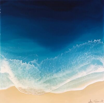 """Anna Sweet, '""""Into the Ocean"""" Mixed Media painting of aerial view of deep blue ocean', 2019"""