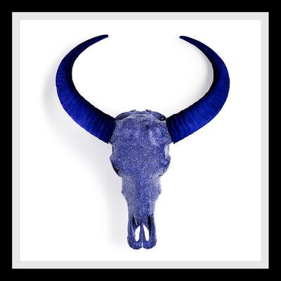 Angela Morris-Winmill, 'Indigo Diamond Dust Buffalo Skull on White Paper', 2019