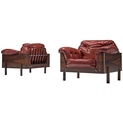 Lineart Moveis e Decoracoes, 'Rare Pair of Armchairs in Rosewood and Red Leather', 1960