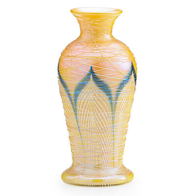 Quezal, 'Small pulled-feather vase with threading, New York', early 20th C
