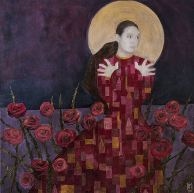 Paul Medina, ''Roses and Moonlight,' Acrylic Painting and Collage by Paul Medina', 2019