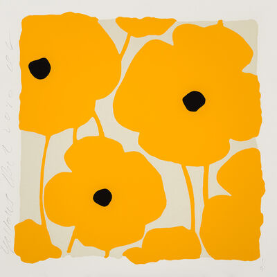 Donald Sultan, 'Three Poppies (Yellow)', 2020