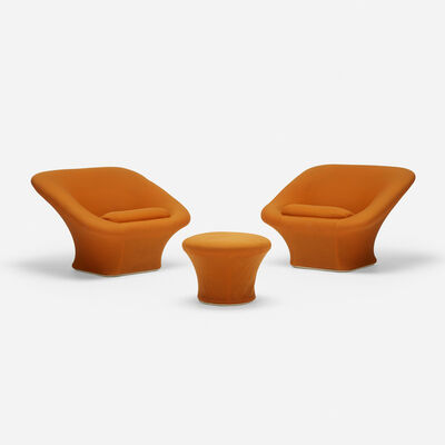 Pierre Paulin (1927-2009), 'Square Mushroom Armchairs Model F564, Pair and Ottomans', 1962