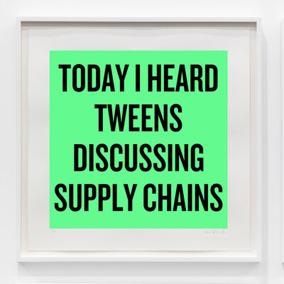 Douglas Coupland, 'Today I heard tweens discussing supply chains', 2020