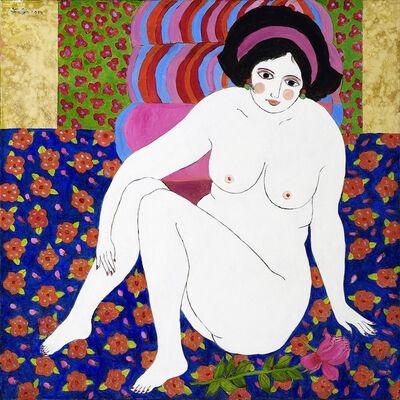 Wu Hao, 'Nude on flower carpet', 2010