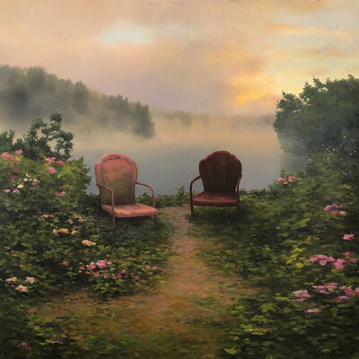 Scott Prior, 'Two Chairs by the River'