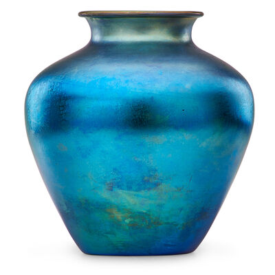 Steuben Glass, 'Large blue Aurene vase'
