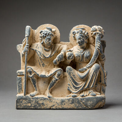 Unknown Asian, 'Gandhara Schist Relief of Hariti and Pancika', 100 AD to 300 AD