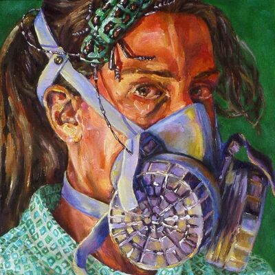 Heidi Brueckner, 'Self-Portrait with Respirator and Bug', 2017