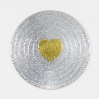 Peter Blake, 'Gold heart on silver Target (metal flake)', 2017