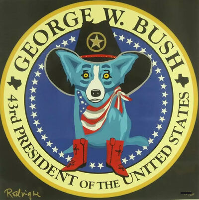 George Rodrigue, 'George W. Bush Presidential Seal Blue Dog', 2001