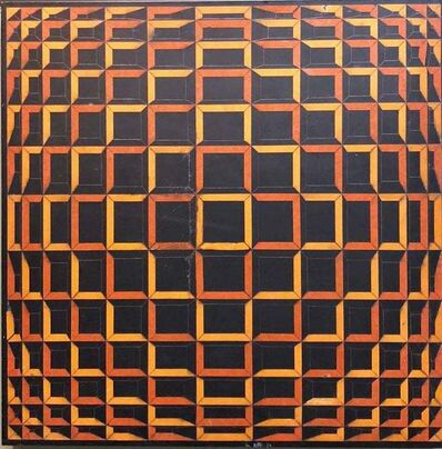 Victor Vasarely, 'Colored Tape on Metal Box Manner of Vasarely Collage Painting Kinetic Op Art', 20th Century