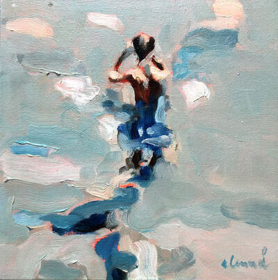 """Elizabeth Lennie, '""""Mythography 98"""" oil painting of a man wading in the grey-blue water', 2018"""