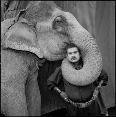 Mary Ellen Mark, 'Ram Prakash Singh with His Elephant Shyama, Great Golden Circus, Ahmedabad, India', 1990