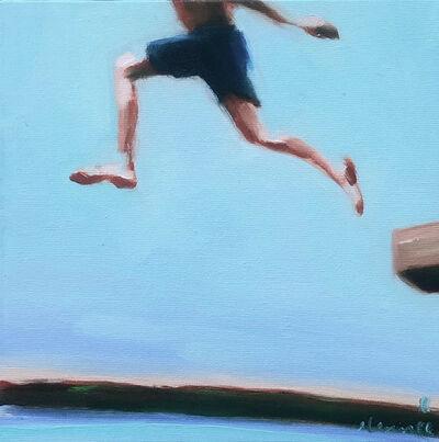 "Elizabeth Lennie, ' ""Mythography 178"" oil painting of a boy running in blue swim trunks with blue sky', 2021"