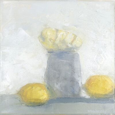 """Anne Harney, '""""Spray Roses and Lemons"""" impressionist style still life oil painting of white flowers and yellow lemons', 2020"""