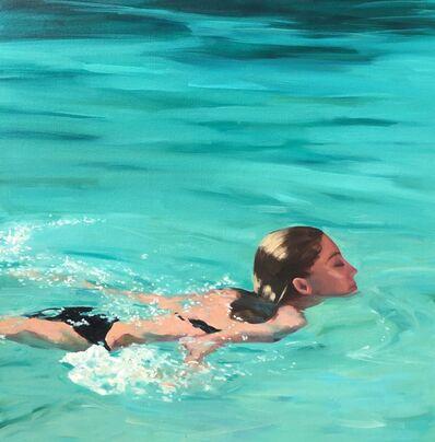 """T.S. Harris, '""""Refreshing Swim"""" Woman in Black Bathing suit Swimming in Teal Water', 2010-2018"""