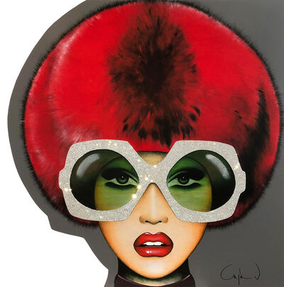 "Anja Van Herle, '""Faux Fur for Her"" - pop art, contemporary, Swarovski crystals, fashion, beauty, glasses, oversized glasses, eyewear, portrait, emotions', 2020"