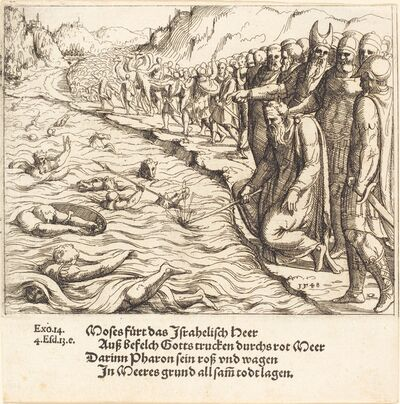 Augustin Hirschvogel, 'Moses Closing the Red Sea', 1548