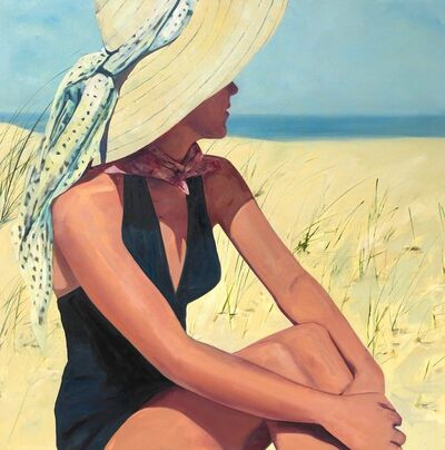 T.S. Harris, '''At the Shore'' Oil painting of a women in a black bathing suit and sunhat sitting on the beach', 2019