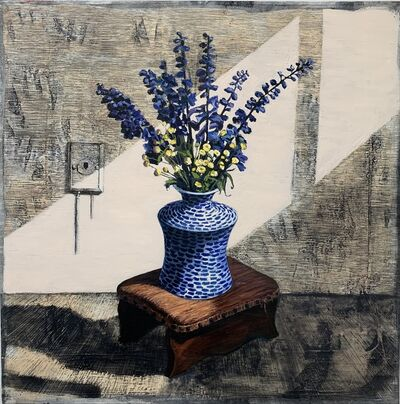 Christine Frerichs, 'Interior Portrait (Delphiniums with Gram's Footstool)', 2018