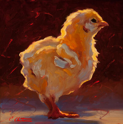 "Cheri Christensen, '""Contemplative Chick"" Painterly chick in bright yellows, Dark brown and red Background', 2018"