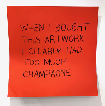 Daniele Sigalot, 'I only go to openings for the booze', 2019