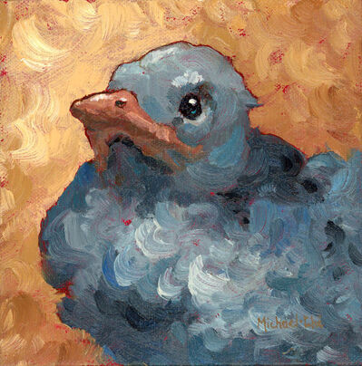 "Michael-Che Swisher, '""Baby Jay"" Oil portrait of a grey bird with tan background', 2019"