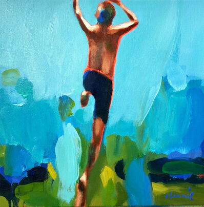 "Elizabeth Lennie, '""Summer 2019-3"" oil painting of a boy jumping with blue and green background', 2019"