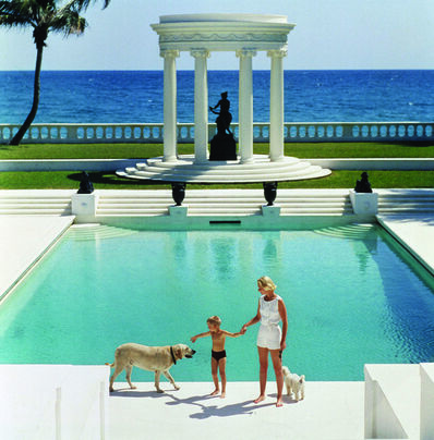 Slim Aarons, 'The Good Life, 1955: C.Z. Guest and her son Alexander and dog at the pool at their home Villa Artemis in Palm Beach, Florida', 1955