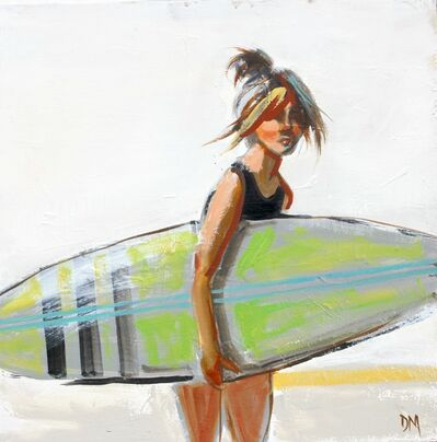 """Debbie Miller, '""""Swim #15"""" Girl Carrying Green Surfboard in Painterly Style with White Background', 2010-2018"""