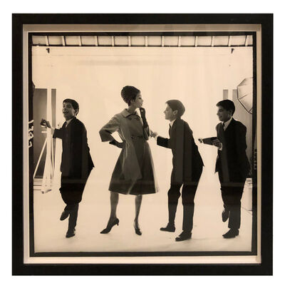 Bert Stern, 'Triplets Edward, Dennis, and Michael Magid Dancing with Model in Jersey Coat', 1963
