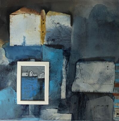 Cecilia Villanueva, '3,528 Hours at Home 2, architecture, white, blue, houses, home, postmodern art, gray, ocher, casitas, abstract, geometric, texture', 2020