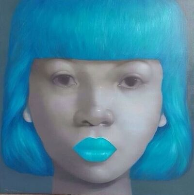 Attasit Pokpong, 'GIRL WITH LIGHT BLUE HAIR AND LIP', 2015